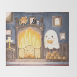 Little ghost making fire Throw Blanket
