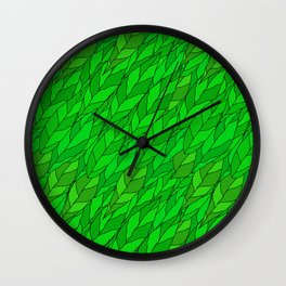 seamless pattern of green leaves Wall Clock