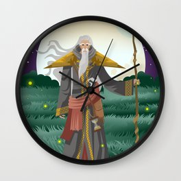 old wise magician with staff Wall Clock