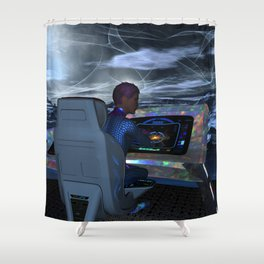 Planetary Exploration Shower Curtain