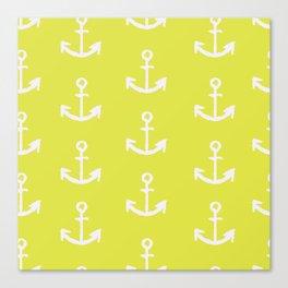 Anchors - Yellow Canvas Print