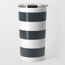 Arsenic - solid color - white stripes pattern Travel Mug