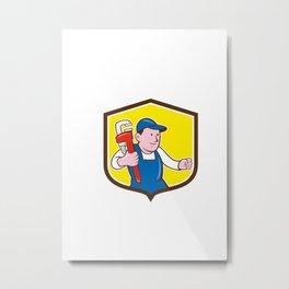 Plumber Holding Monkey Wrench Shield Cartoon Metal Print