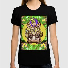 Happy Jester Tiki With Flames T-shirt