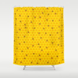 Mind Your Own Beeswax / Bright honeycomb and bee pattern Shower Curtain