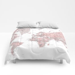 Dusty pink & grey watercolor world map cropped Comforters