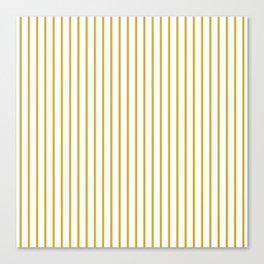 Primrose Yellow Pinstripe on White Canvas Print