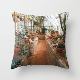 Desert Cactus Greenhouse Throw Pillow