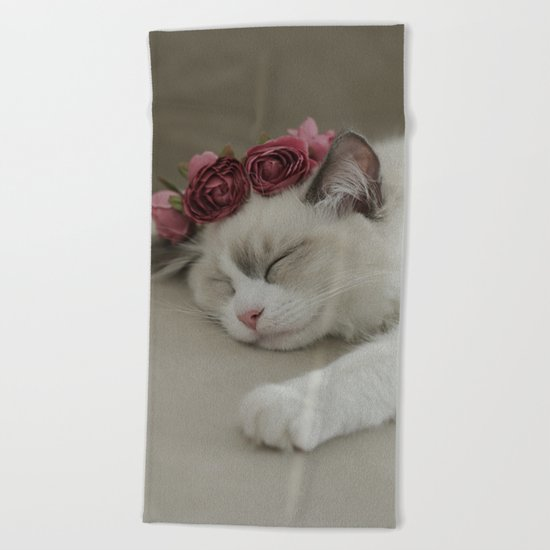 SLEEPY KITTY by Monika Strigel Beach Towel