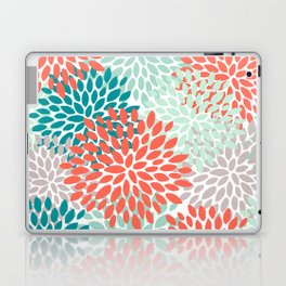 Floral Pattern, Living Coral, Teal and Mint Green Laptop & iPad Skin