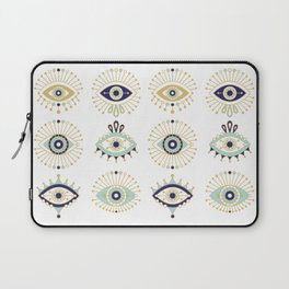 Evil Eye Collection on White Laptop Sleeve
