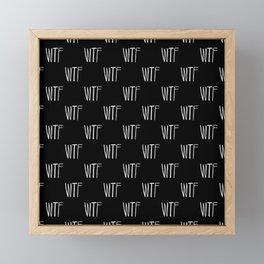 WTF Black and White Typography Pattern Framed Mini Art Print