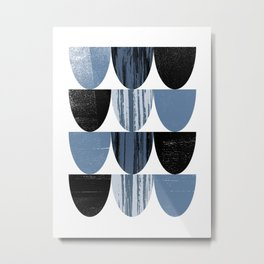 Scallop Pattern Black & Blue Grey Graphic Design Abstract Metal Print