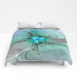Abstract With Blue 2, Fractal Art Comforters