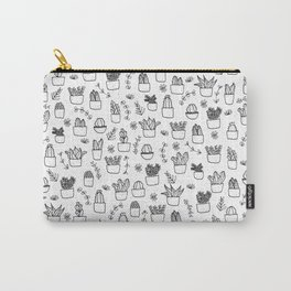 Potted Plants Pattern (Black on White) Carry-All Pouch
