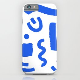 Brush Stroke Minimal 19 - Abstract Pattern Shapes Modern Mid Century Texture Blue. Gift idea Home deco iPhone Case
