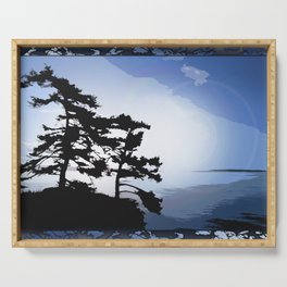 TWO WINDSWEPT DOUGLAS FIR ON THE SHORELINE Serving Tray