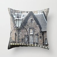 edinburgh Throw Pillows featuring Edinburgh castle by oxana zaika