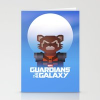 rocket raccoon Stationery Cards featuring Guardians of the Galaxy - Rocket Raccoon by Casa del Kables