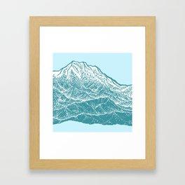Distant Snow- 遠雪 : linocut Framed Art Print