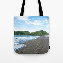 Blue Sky Black Sand Photography Print Tote Bag