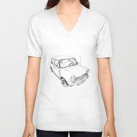mini cooper V-neck T-shirts featuring Mini Cooper by Neko Naku