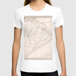 Vintage Map Print - 1839 map by the SDUK - The Punjab, with part of Afghanistan, Kashmeer, Sinde, &c T-shirt