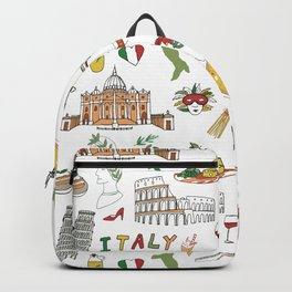 Italy travel doodle pattern with national italian food and sights.  Backpack