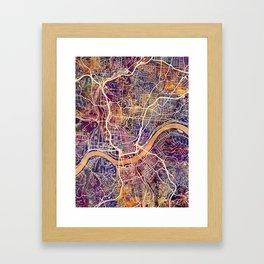 Cincinnati Ohio City Map Framed Art Print