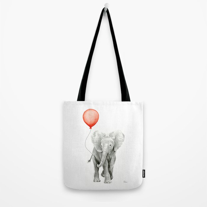 Baby Elephant Watercolor Red Balloon Nursery Decor Tote Bag