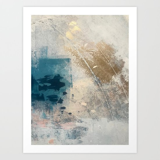Embrace: a minimal, abstract mixed-media piece in blues and gold with a hint of pink by blushingbrushstudio