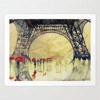 takmaj Art Prints featuring Winter in Paris by takmaj