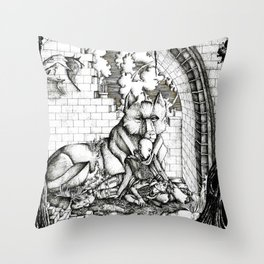 Lovers in the ruins Throw Pillow