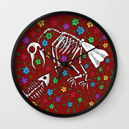 Bird and Fish Skeletons on Bed of Flowers Wall Clock