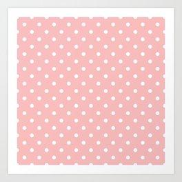 Powder Pink with White Polka Dots Art Print
