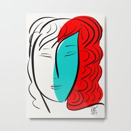 Turquoise Pop Girl with red hair Graphic Minimal art Metal Print