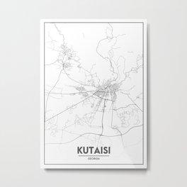 Minimal City Maps - Map Of Kutaisi, Georgia. Metal Print