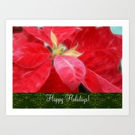 Mottled Red Poinsettia 2 Happy Holidays S6F1 Art Print
