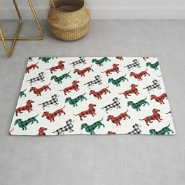 Christmas Dachshunds Red Flannel Rug