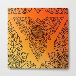 Thai Art Pattern In Triangular Shape. Metal Print