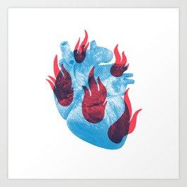 Heart in flames Art Print