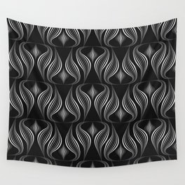 """Art Deco . Black and white pattern ."""" Waterfall """". Wall Tapestry"""