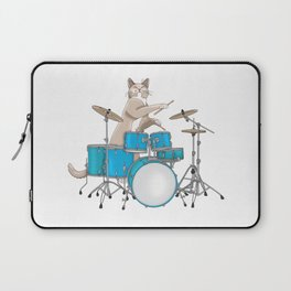 Cat Playing Drums - Blue Laptop Sleeve