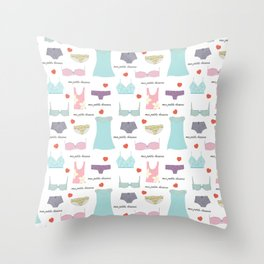 Mes Petits Dessous Pattern Throw Pillow