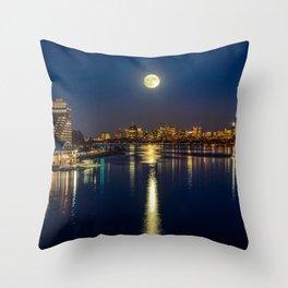 Moon light city of Boston Throw Pillow