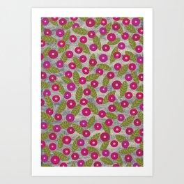Poppy Flowers in Fuchsia – dry chalk crayons Art Print