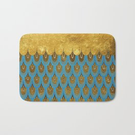 Blue and Gold Mermaid Scales Dreams Bath Mat