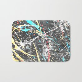Abstract teal yellow paint splatters gray marble Bath Mat