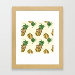 Pineapples with Sunglasses Hand Painted Framed Art Print