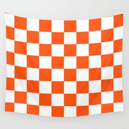 Cheerful Orange Checkerboard Wall Tapestry